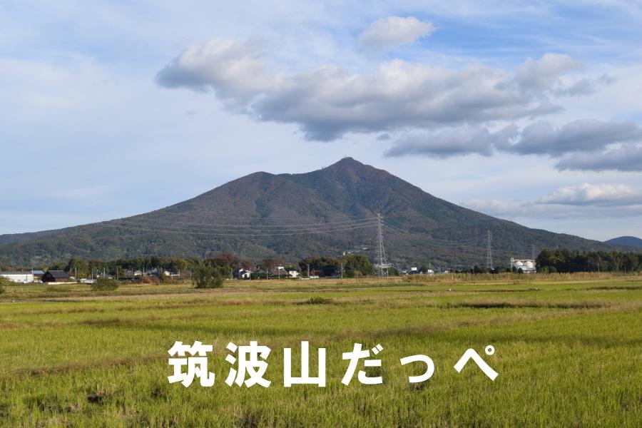 筑波山を背景に茨城弁のコメント