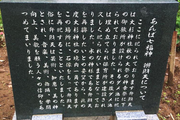 あんば七福神について書かれた石碑