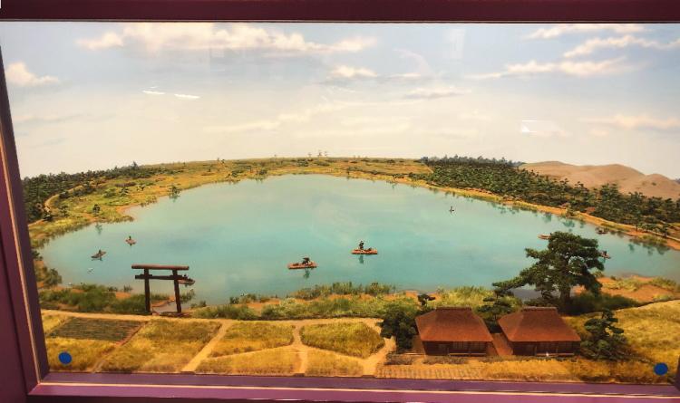 埋め立て前の神之池の模型