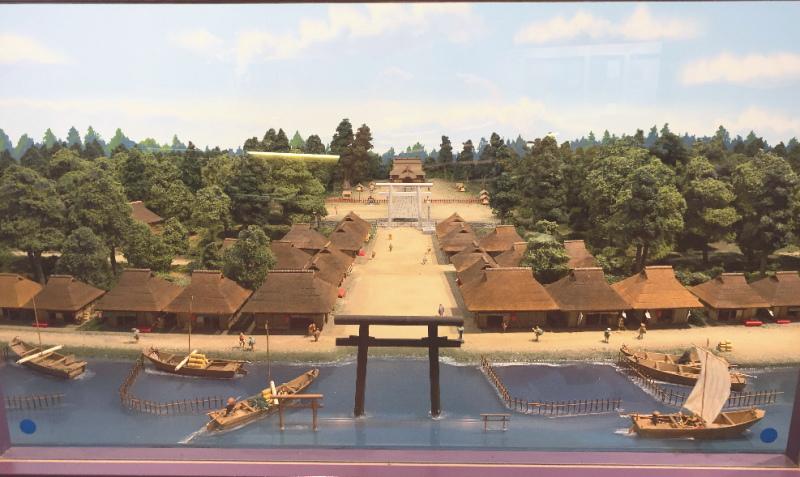 江戸時代の息栖神社を再現したパノラマ風模型
