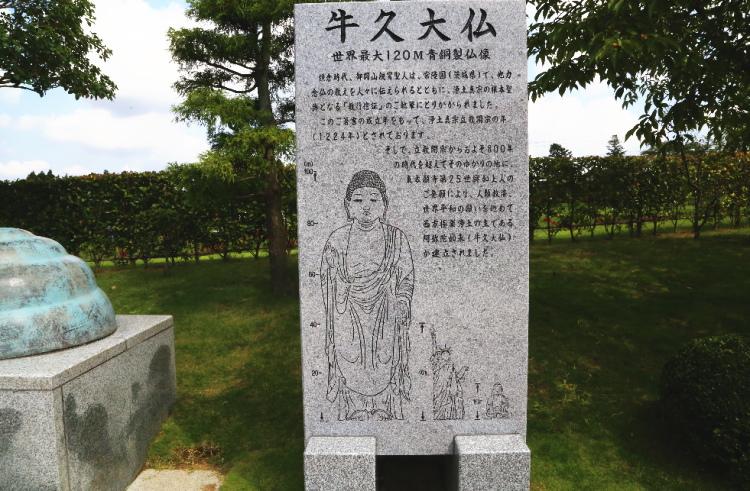 牛久大仏を解説した石碑