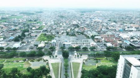 茨城県庁の展望室からみた水戸の街並み
