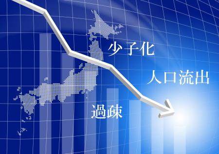 少子化で茨城県の人口が減っていくイメージ