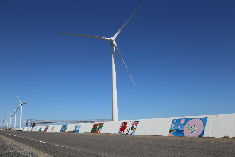 神栖市の1000人画廊と風力発電の風車