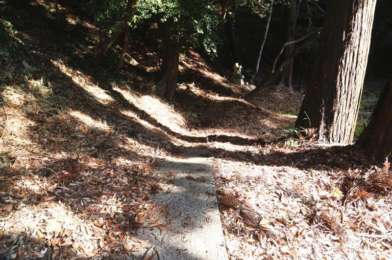 裏の祠に向かう細い道