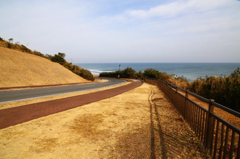 海がすぐ近くに見える道