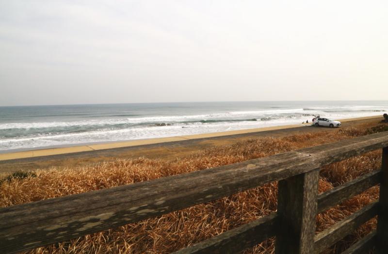 冬の海でサーフィンをする人たち